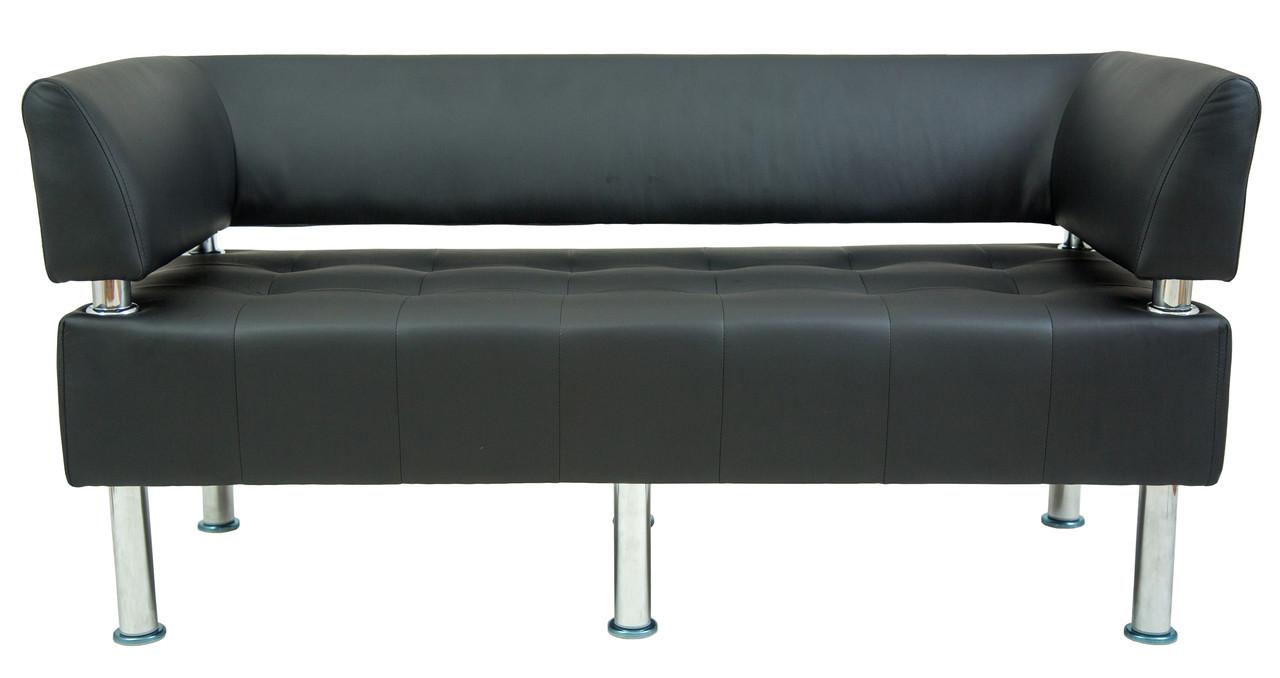 Диван Офис 156 см флай черный со спинкой и подлокотниками