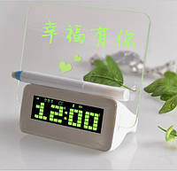 Уценка Часы с led доской для записей + маркер, 3 будильника board