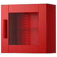 BRIMNES Навесной шкаф со стеклянной дверью, красный