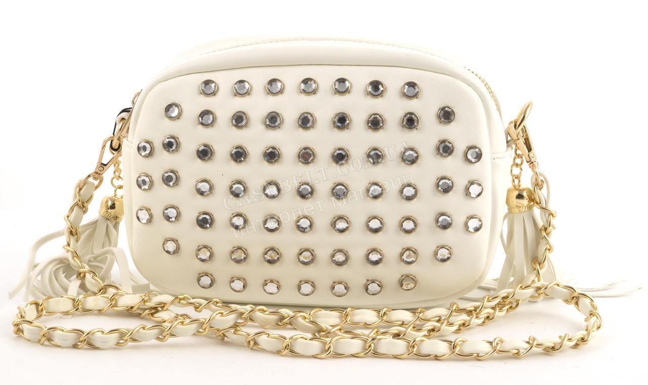 Каркасна стильна невелика наплічна сумочка клатч з камінчиками art. 2017006-02 білого кольору (100940)