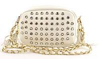 Каркаснаястильная небольшая наплечная сумочкаклатч с камушками art. 2017006-02 белого цвета (100940)