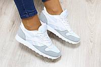 Женские кроссовки Reebok Classic натуральная замша+кожа перфорация цвет: белые с серым