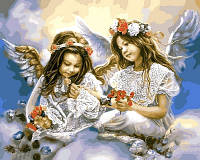 Картина по номерам Ангелочки с маками (VP630) 40 х 50 см DIY Babylon