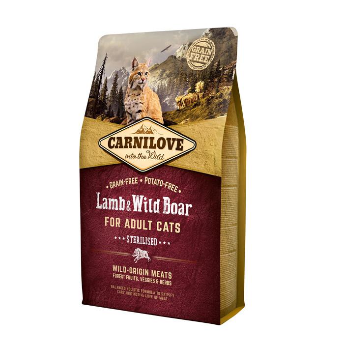 CarniLove Lamb & Wild Boar for Adult Cats Sterilised беззерновой корм для стерилизованных кошек, 6 кг