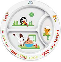 Детская порционная тарелка с развивающими рисунками, Avent