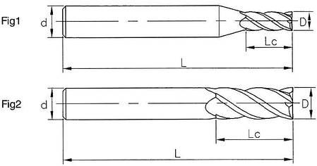 Ø1*4*4*50-4F Фреза твердосплавная концевая(65HRC), фото 2
