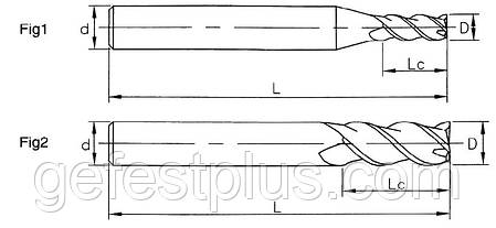 Ø14*35*14*80-3F Фреза твердосплавная концевая для обработки алюминия (45HRS), фото 2