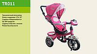 Велосипед трехколесный с фарой TR015, надувные колеса розовый