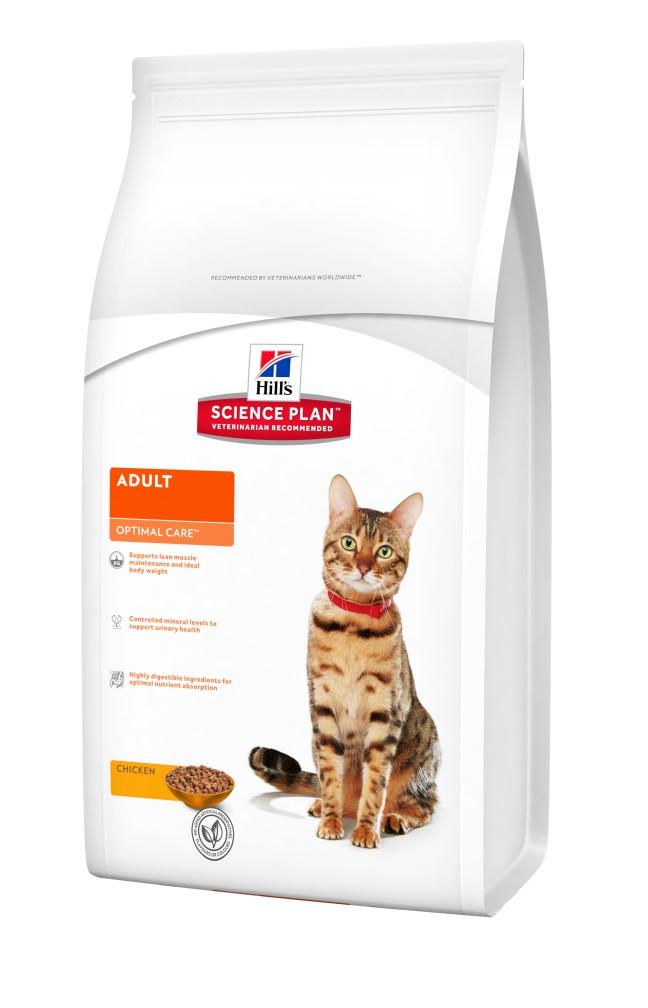 Hill`s ADULT Optimal Care Chicken 15 кг - корм для кошек от 1 до 7 лет (курица)
