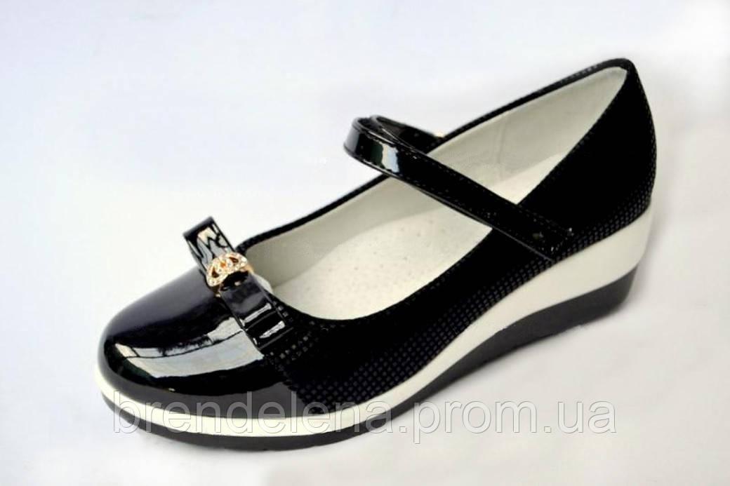 Стильні чорні туфлі для дівчинки (р34)