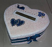"""Свадебный сундук для денег """"Сердце"""" (розово-синий)"""