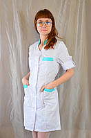 Медицинский женский белый халат с цветными вставками белый/бирюзовый, 50