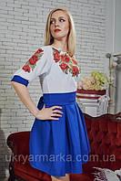 """Сучасна вишивка плаття,  """"Маки"""" синє"""