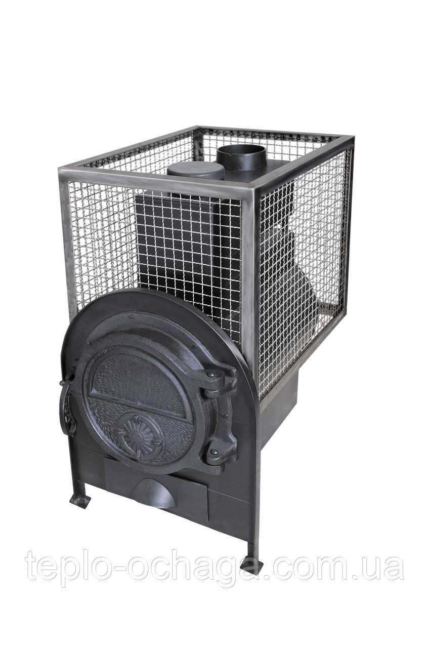 Печь котел для бани с квадратной сеткой без выноса топки