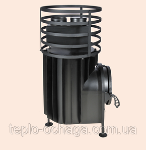 Печка в баню малая с круглой сеткой, без выноса топки, фото 2