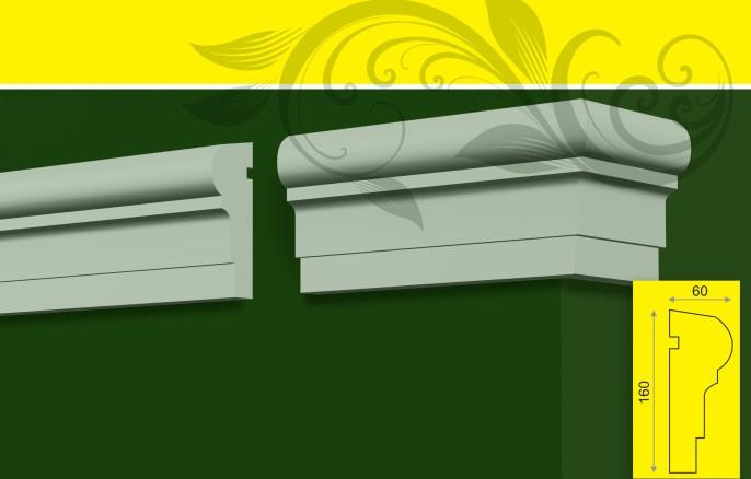 Молдинг - декор фасада для обрамления окон, в/ш, мм: 160 / 60