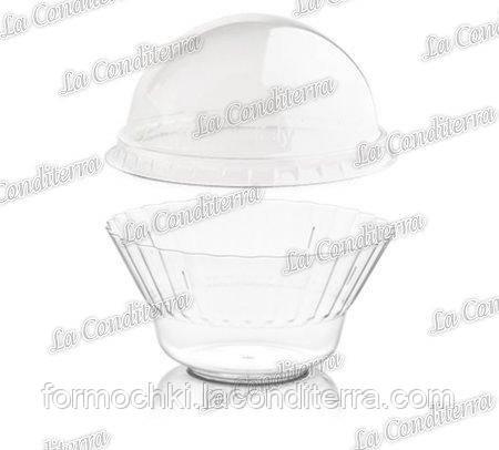 Пластиковая прозрачная креманка с крышкой «Ondulina» 344+030592 (250 мл)