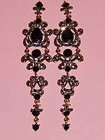 Серьги длинные под старину, черные камни, металл под бронзу 000341, фото 1