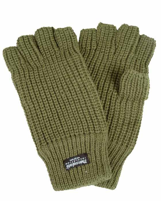 Перчатки беспалые вязаные Thinsulate олива