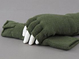 Перчатки беспалые вязаные Thinsulate олива, фото 3