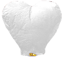 """Небесные фонарики """"Сердце"""", ,1 метр ,разных цветов Белый"""