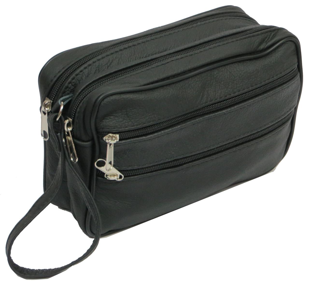 Мужская кожаная сумка, барсетка 41393 Andrzej черная