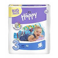 Детские подгузники, памперсы Bella Happy Midi 3 (5-9кг) Big Pack 72 шт