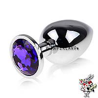 Пробка с кристаллом металлическая темно фиолетовый кристалл