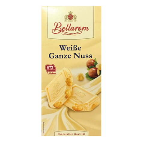 Шоколад Bellarom Weibe Ganze Nuss белый с цельным фундуком 200г, фото 2