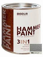 Молотковая краска (серебристая) BIODUR 0,7л.