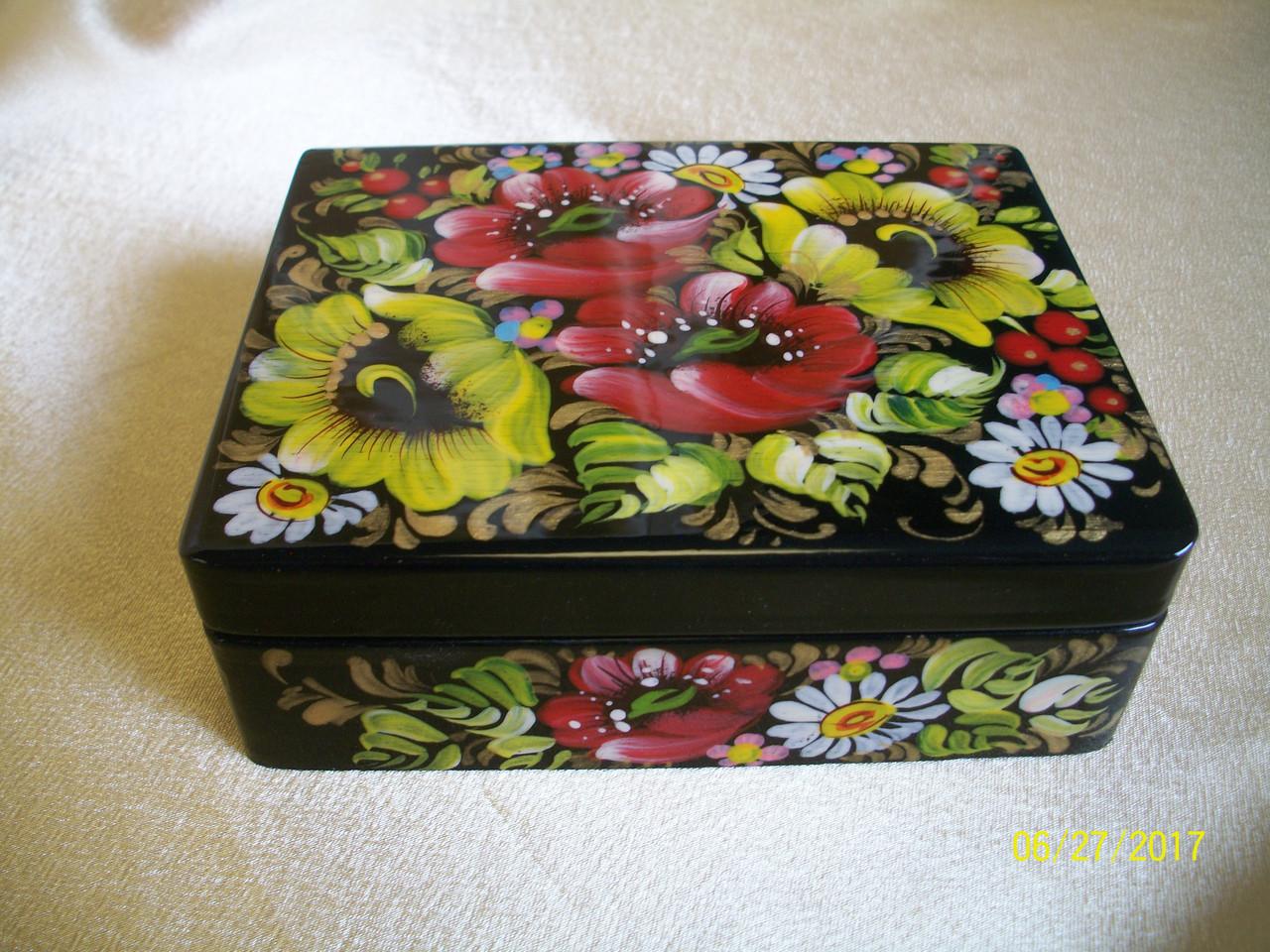 Сувениры Шкатулка для украшений  деревянная Птриковка