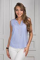 Женская блуза с украшением без рукава полоска p.42-46 S1273