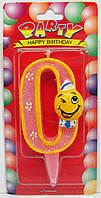 """Свеча для торта цифра """"Смайлик""""-0"""