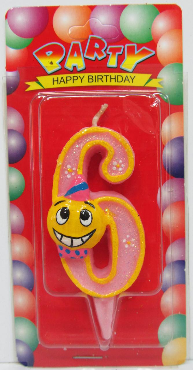 """Свеча для торта цифра """"Смайлик""""-6"""