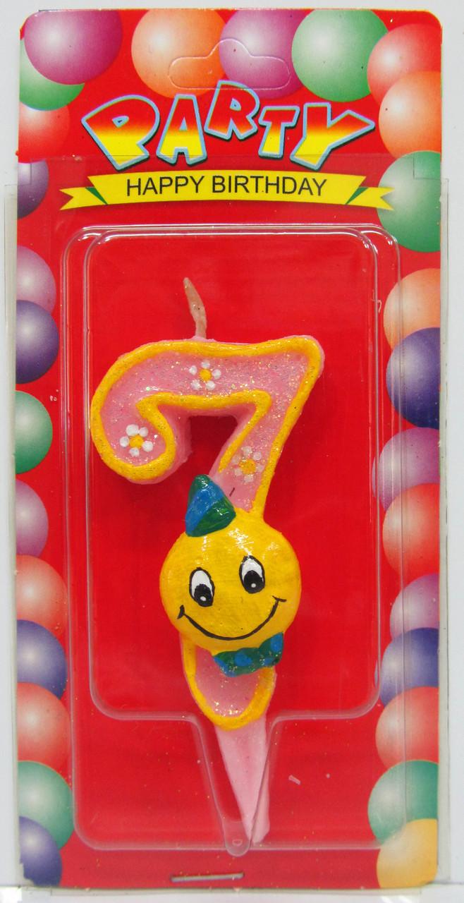 """Свеча для торта цифра """"Смайлик""""-7"""