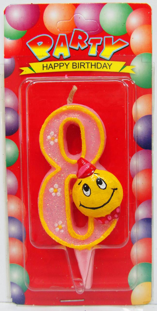 """Свеча для торта цифра """"Смайлик""""-8"""