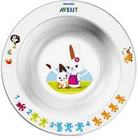 Детская глубокая тарелка с развивающими рисунками, Avent