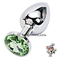 Анальная игрушка анальная пробка с кристаллом металлическая свело зеленый кристалл