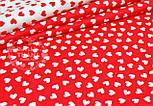 Отрез ткани №801 с белыми мини сердечками на красном фоне, размер 80*160, фото 2