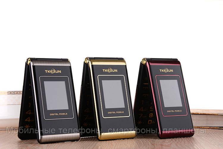 Телефон-раскладушка Tkexun M1 на 2 Сим с внешним дисплеем Батарея 5800Mah