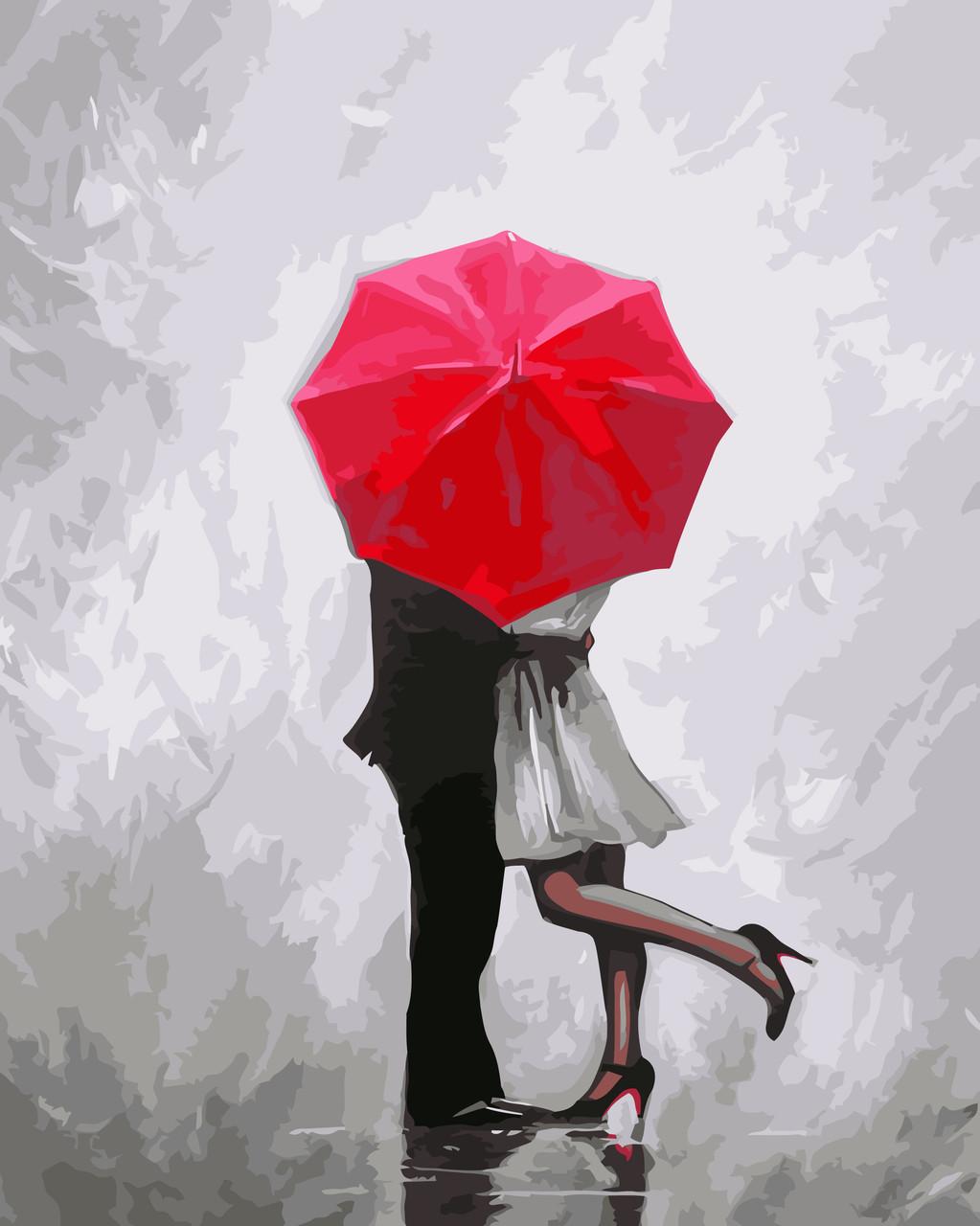 Раскраска по номерам Идейка Влюбленные под зонтом (KHO2656) 40 х 50 см (без коробки)