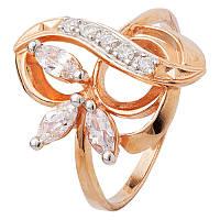 Серебряное кольцо позолоченное с фианитом К3Ф/074 - 19