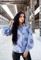 Яркая женская рубашка с принтом в нескольких расцветках t-ta61135