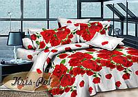 """Двуспальное постельное белье Ранфорс комплект 180*220 3D """"Алые розы на белом"""""""