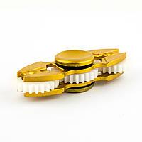 Спиннер пластиковый с тремя шестеренками золотистый Spinner plast 009-R