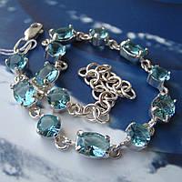 Серебряный женский браслет с камнями и цепочкой, 180-230мм