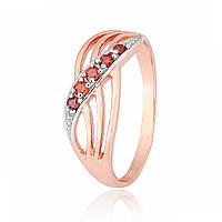 Серебряное кольцо позолоченное с фианитом К3ФГ/013 - 19