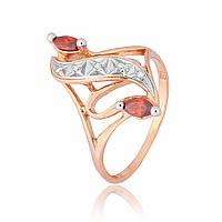 Серебряное кольцо позолоченное с фианитом К3ФГ/149 - 19