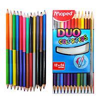 Карандаши 24-цвета-12штук, MAPED, DUO, трехгранные