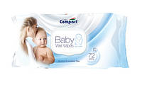 Детские влажные салфетки Ultra Compact Baby Wet Wipes с клапаном(72 штук в упаковке)